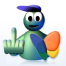 Default MSN guy showing middle finger